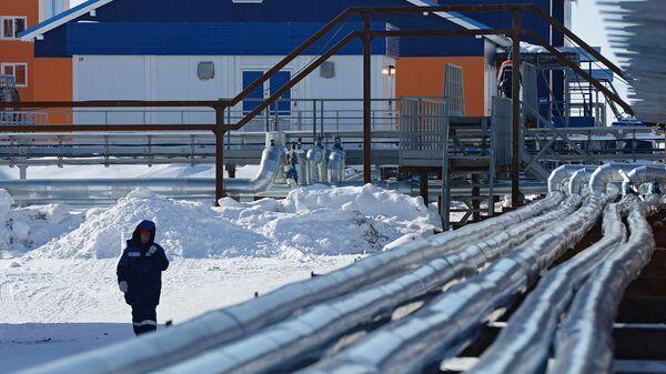 Трубы на территории завода по производству сжиженного природного газа в посёлке Сабетта в Ямало-Ненецком автономном округе