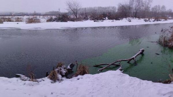 Вода в реке Миасс, окрашенная в зеленый цвет