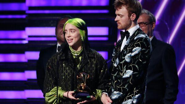 Билли Айлиш на 62-й церемонии вручения наград академии звукозаписи США Грэмми. 26 января 2020
