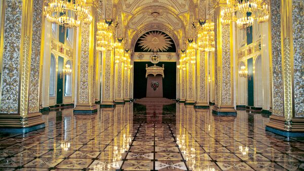 Андреевский зал Большого Кремлевского дворца, где пройдет инаугурация президента