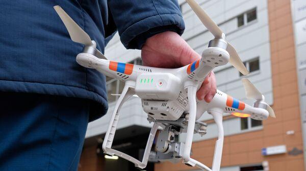 Квадрокоптер МЧС во время пожарных учений