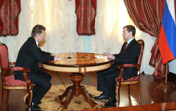 Встреча президента РФ Д.Медведева с главой Газпрома А.Миллером