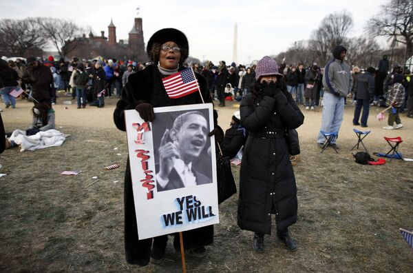 В парке National Mall в ожидании начала инаугурации Барака Обамы