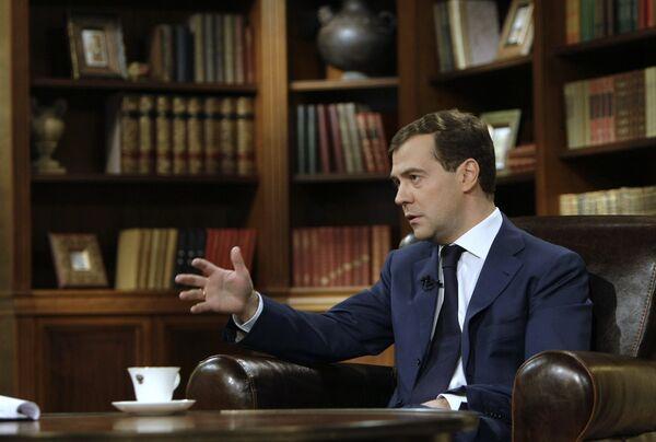Президент России Дмитрий Медведев дал интервью программе Вести Недели