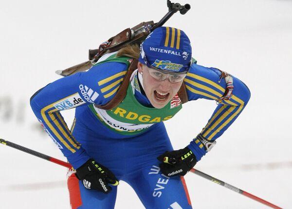 Хелена Юнссон после гонки с масс-старта на чемпионате мира по биатлону-2009