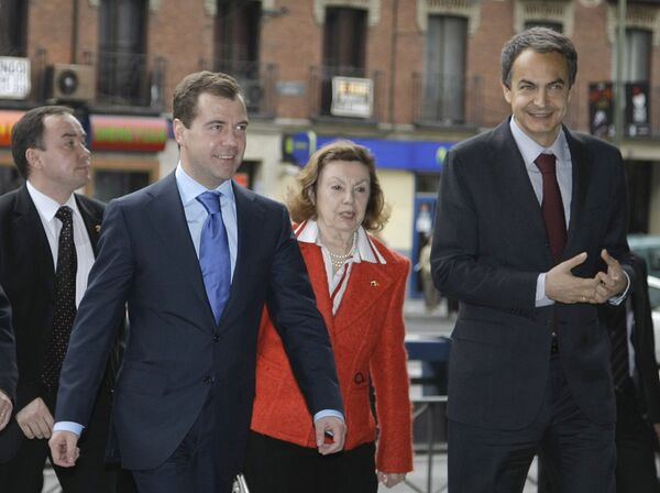 Д. Медведев и Х.Л. Сапатеро посетили выставку, организованную РИА Новости в Мадриде