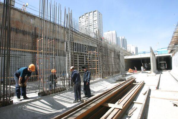 Строительство новой станции метров Москве. Архив