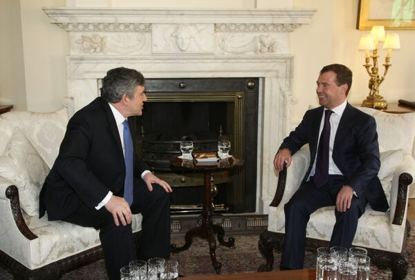 Встреча президента России Дмитрия Медведева с премьер-министром Великобритании Гордоном Брауном