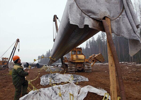 Строительство сухопутного участка Северо-Европейского газопровода