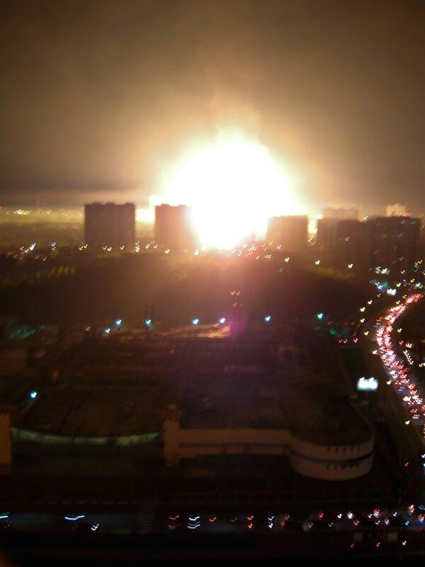 Взрыв газопровода на одном из объектов на Мичуринском проспекте