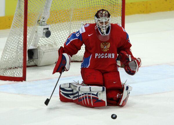 Вратарь сборной России по хоккею Илья Брызгалов