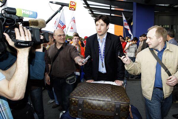 Илья Ковальчук во время встречи сборной России по хоккею в аэропорту Шереметьево-1