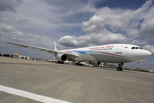 Презентация самолета Airbus А330-300 ОАО Владивосток Авиа в аэропорту Внуково
