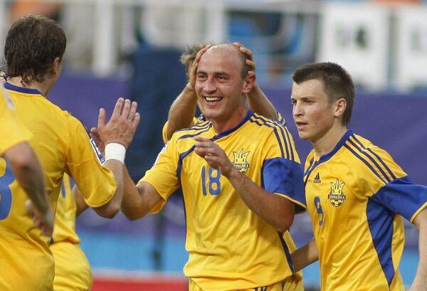Полузащитник Сергей Назаренко (в центре) и его партнеры по сборной Украины