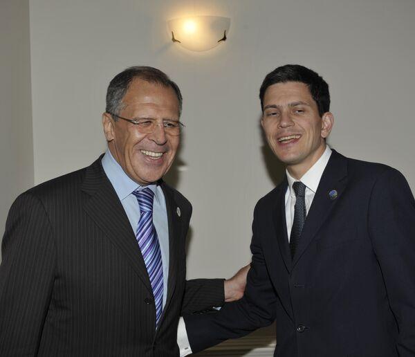 Главы МИД России и Великобритании Сергей Лавров и Дэвид Милибэнд
