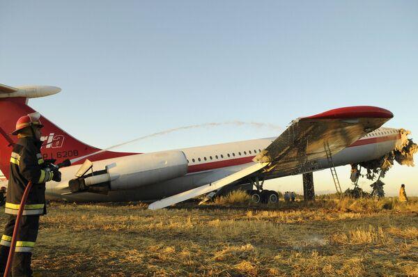 Авария иранского самолета в международном аэропорту города Мешхед на северо-востоке Ирана