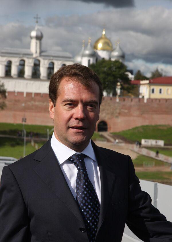 Президент РФ Дмитрий Медведев посетил Великий Новгород