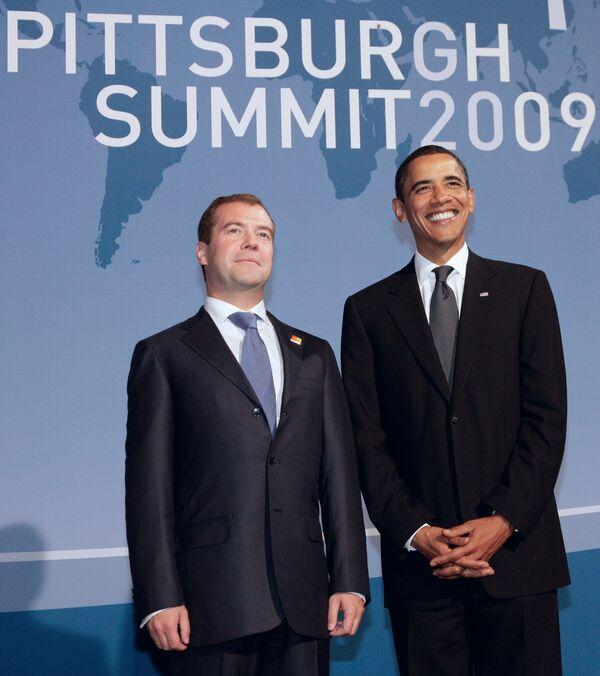 Президент РФ Дмитрий Медведев и президент США Барак Обама