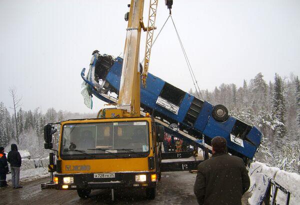 На месте дорожно-транспортного происшествия на 145-м километре трассы Красноярск – Енисейск