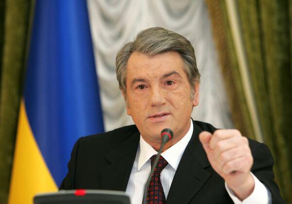 Президент Украины Виктор Ющенко на пресс-конференции по транзиту газа в Европу