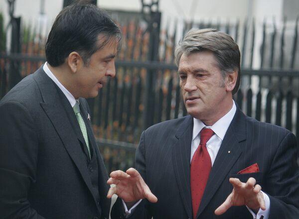 Президент Грузии Михаил Саакашвили и президент Украины Виктор Ющенко