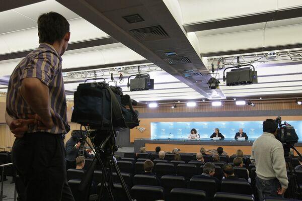 Пресс-конференциия в пресс-центре телевидения и радио России (ВГТРК). Архив