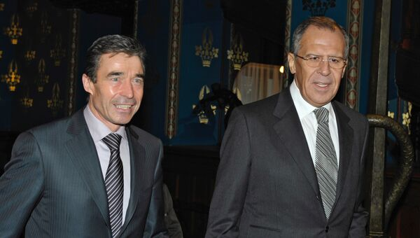 Глава МИД РФ Сергей Лавров встретился с генсеком НАТО Андресом Фогом Расмуссеном. Архив