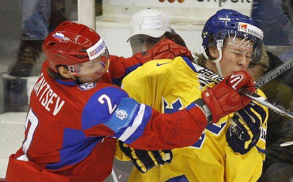 Игровой момент матча сборная России - сборная Швеции