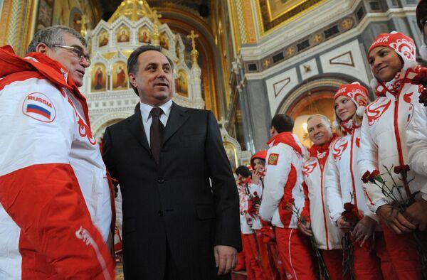 Церемония проводов олимпийцев в Ванкувер прошла в Храме Христа Спасителя