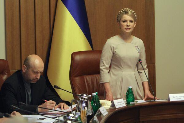 Премьер-министр Украины Юлия Тимошенко на заседании кабинета министров. Архив