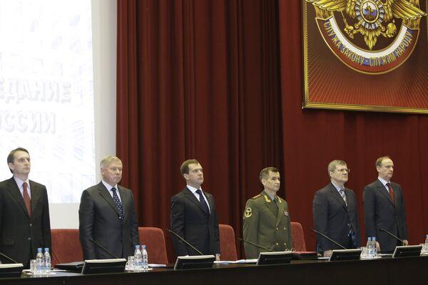 Президент РФ Дмитрий Медведев принял участие в заседании колеггии МВД РФ