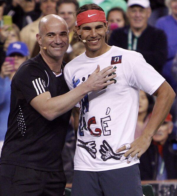 Андре Агасси (слева) и Рафаэль Надаль
