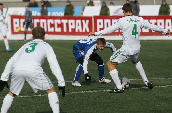Игровой момент матча Сибирь (Новосибирск) - Терек (Грозный)