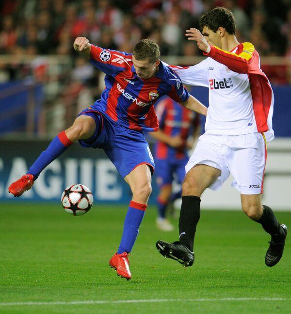 Игровой момент матча Севилья (Севилья, Испания) - ЦСКА (Москва, Россия)