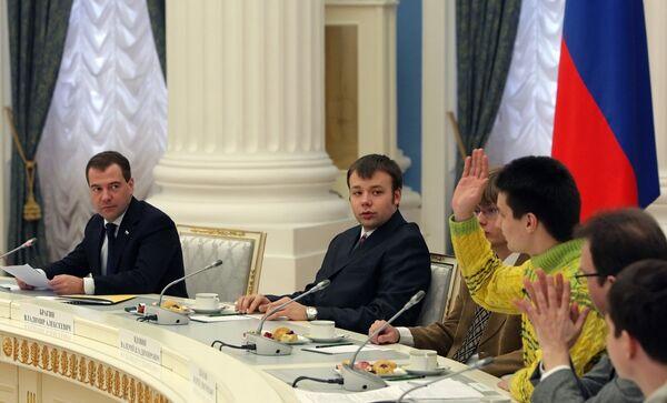 Встреча Димитрия Медведева с победителями школьных и студенческих олимпиад в Кремле