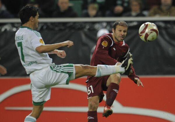 Игровой момент матча Вольфсбург - Рубин