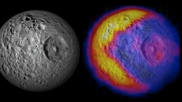 Оптическая и инфракрасная фотография спутника Сатурна Мимаса