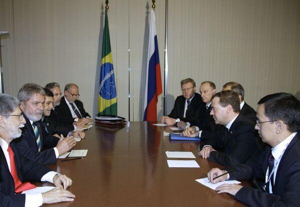Президент РФ Дмитрий Медведев и президент Бразилии Лула да Силва
