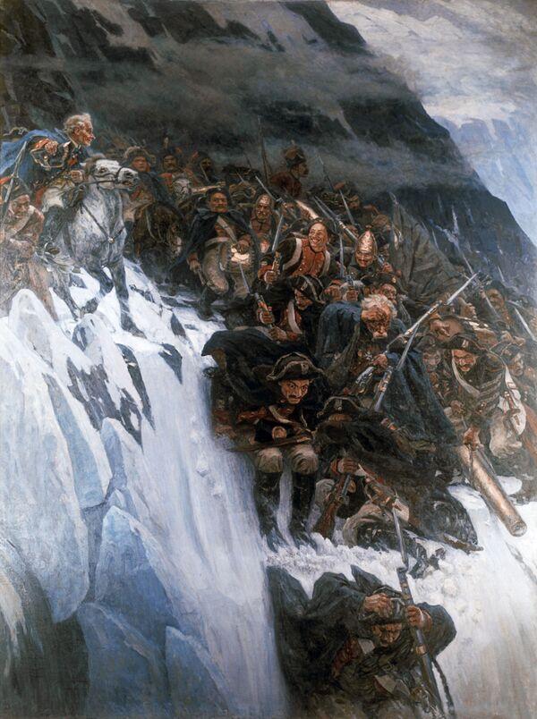 Картина В. И. Сурикова Переход Суворова через Альпы