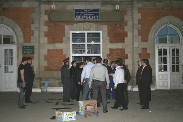 Здание вокзала в Дербенте, где прогремел взрыв