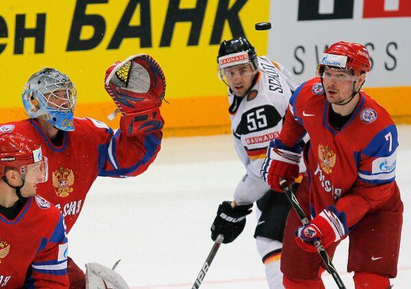 Игровой момент матча Россия - Германия