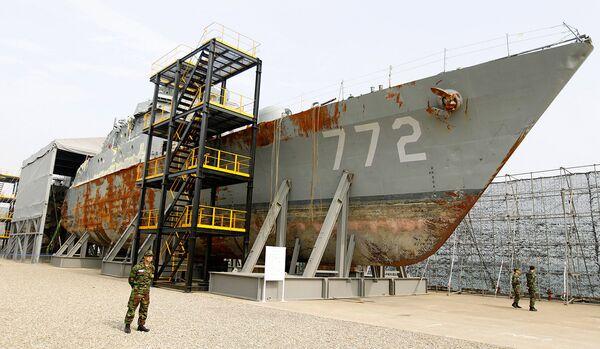 Корпус торпедированного южнокорейского корвета Чхонан (Cheonan)