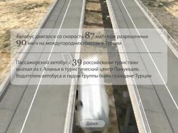 3D-реконструкция аварии туристического автобуса в Турции
