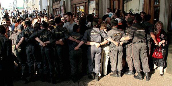 Марш несогласных на Триумфальной площади в Москве 31 мая