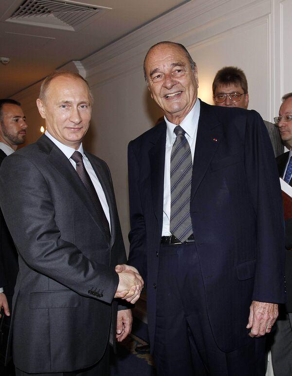 Путин встретился в Париже с экс-президентом Франции Шираком