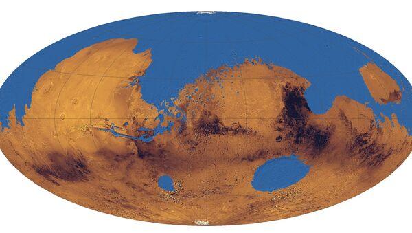 Реконструкция предполагаемого марсианского океана, покрывавшего треть планеты.