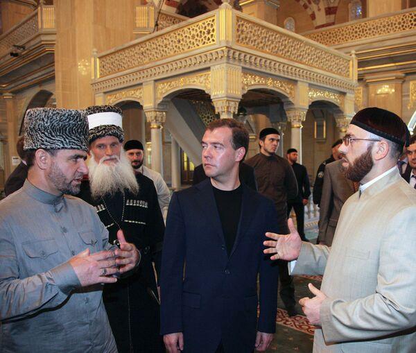 Президент РФ Д.Медведев побывал в центральной мечети в Грозном