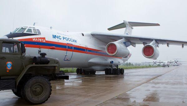 Ил-76 МЧС РФ на подмосковном аэродроме Раменское. Архивное фото