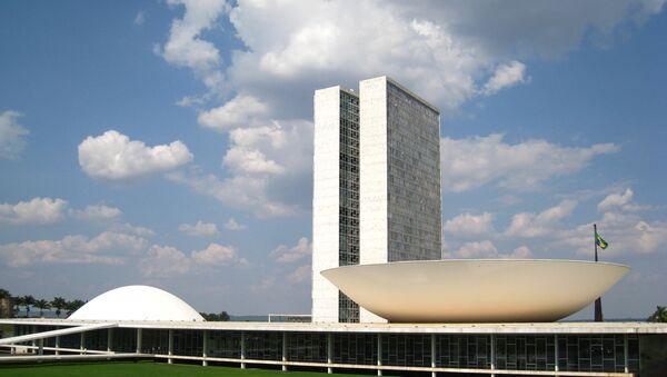 Комплекс зданий Национального Конгресса Бразилии в столице страны, городе Бразилиа. Архивное фото