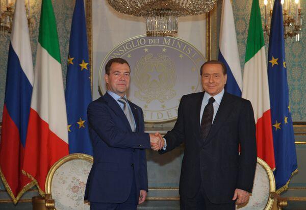 Беседа президента РФ Дмитрия Медведева с премьер-министром Италии